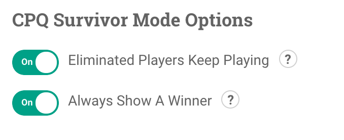 Additional CPQ Trivia options including Eliminated Players Keep Playing and Always Show A Winner.
