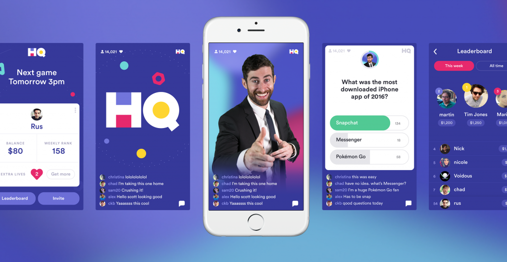 HQ Trivia Application for iOS and Android. The app features a daily elimination style trivia game, live host, and cash prizes.