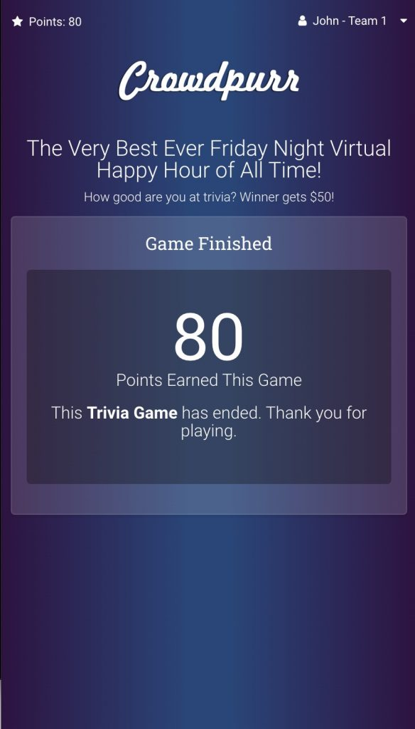 Crowdpurr's Mobile View showing a finished trivia game with the rankings disabled.