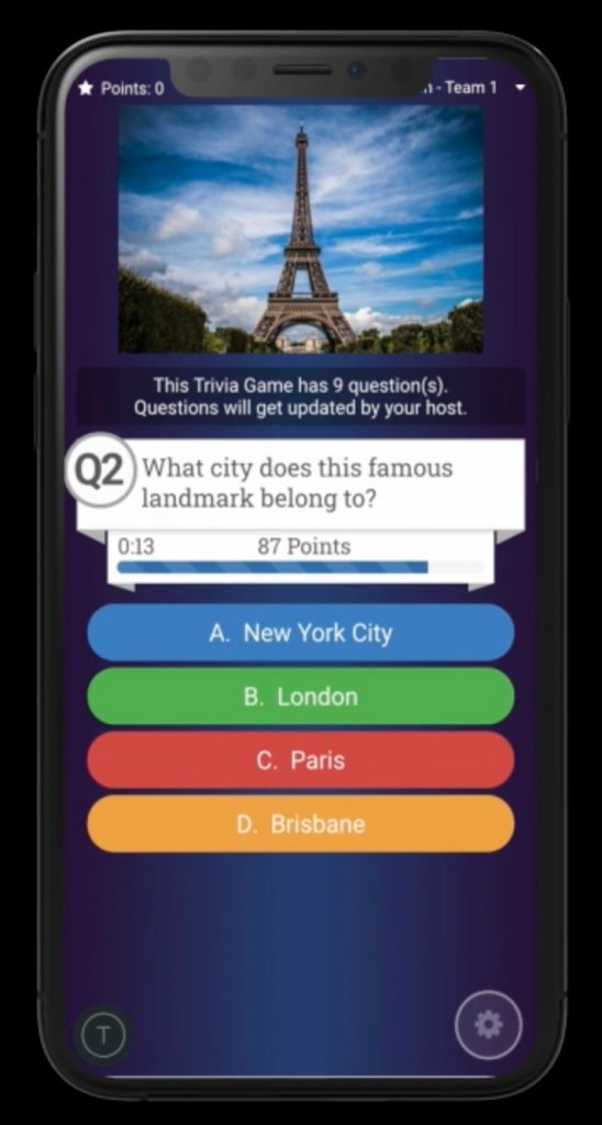 The updated Crowdpurr Mobile View with new layout for Question Media including stock images from Pixabay, gifs from Giphy, and add video trivia with YouTube.